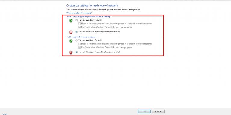 cara mematikan firewall pada windows